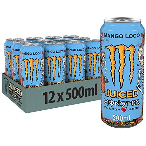Monster Energy Mango Loco mit tropischen Mangosaft - mit Kohlensäure, Energy Drink Palette, EINWEG Dose (12 x 500 ml)