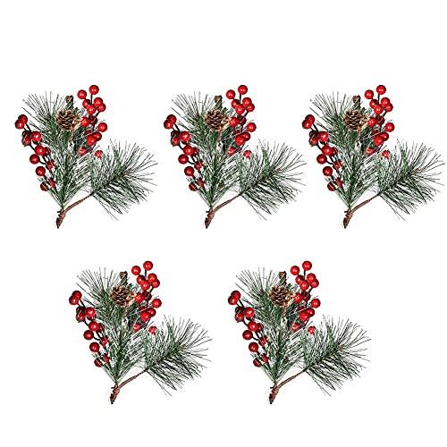 Ramas de Pino de Bayas navideñas, Agujas de Pino navideñas con Bayas Rojas, Agujas de Cono de Pino Artificial de Bricolaje, Tallos de vegetación, decoración navideña 5 Piezas