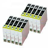 Merotoner - Cartuchos de tinta compatibles para Epson T-0551 T0551 Epson Stylus Photo RX420 RX425 RX520 R240 R245 (10 unidades)