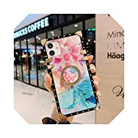 For iPhone 12 PRO Max XR X XSMAX用の豪華なキラキラスクエアケースFor iPhone11 PRO MAX 7 Plus 86S用のカラフルなフラワーカバー電話ケース-Pink-for iphone 12 Mini