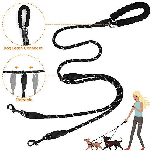 Slowton Doppel-Hundeleine Splitter, zwei Haustierleine Koppler zum Anschließen an Halsband Geschirr Schiebebare Seil Hundeleine mit weichem gepolstertem Griff, kein Verheddern 360 ° drehbarer Haken
