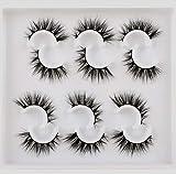 Lanflower Fluffy Glamour False Eyelashes Dramatic 3D mink Lashes look 6 Pairs