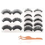 False Eyelashes, JDO 8 Styles Lashes Reusable Handmade & Cruelty-Free Fake Eyelashes Set Natural Soft and Comfortable Eye Lashes with Professional Tweezer (8 Pairs)