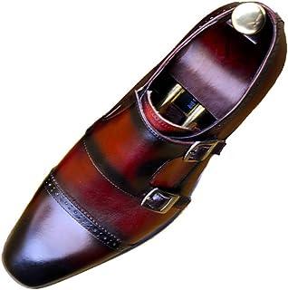 Chaussures de ville Business,Double Boucle Chaussures moine confortable Marcher travail Prom Bureau Chaussures,Red-37