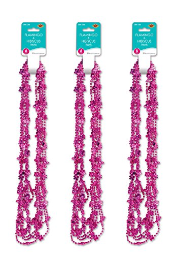 Beistle 52172 18 Piece Flamingo and Hibiscus Party Beads, 33', Hot Pink