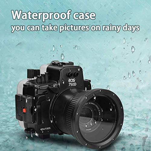 Sea frogs for Canon EOS 750D 18-135MM 130ft/40m Underwater Camera Housing Waterproof Case
