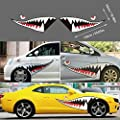 DesirePath Flying Tigers Shark Mouth Teeth Die-Cut Vinyl Decals Car Window Bumper Exterior Decals Sticker for Car Side Door (59 inches - 1 Pair)