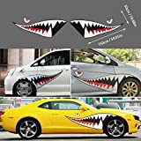 Lovelychica 2 Pieces Shark Teeth Mouth Decals Sticker Vinyl Exterior Decal for Car Side Door Reflective Car Auto Body Decals Sticker