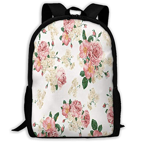 TTmom Schulrucksack,Schüler Bag,Rucksack Damen Herren Backpack Japanese Floral Pattern Zipper School Bookbag Daypack Travel Rucksack Gym Bag for Man Women