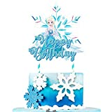 1 count Cake Topper Decorations for Frozen Ice Birthday Party Topper for Children Includes: 1 big cake topper for Ice Frozen. Size: 7.1 x 7.1 inches. Material: 100% white food grade paper stick and paper card. 【Notice】Need to be stuck manually. Produ...