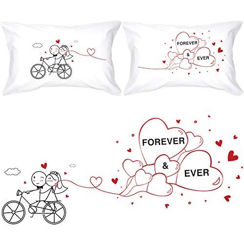 BOLDLOFT Forever & Ever Couples Pillowcases for Bride and...
