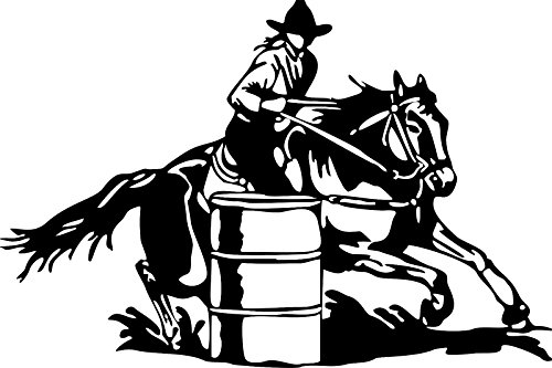 yaonuli Barrel Racing Cowgirl Rodeo Wagon Truck Vinyl sticker