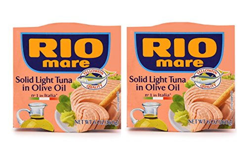 Rio Mare | Solid Light Tuna in Olive Oil | 6 oz (160 g) Can | 2 Pack - Canned Italian Tuna Fish, Tonno, Wild Caught Yellowfin & Skipjack, Sustainable
