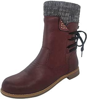 Women Low Heel Mid Calf Boots, Retro Side Zipper Knitting Studded Riding Combat Boots Winter Warm Snow Boots