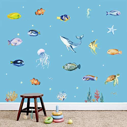 decalmile Wandtattoo Unter dem Meer Wandsticker Tropischer Fisch Qualle Ozean Wandaufkleber Kinderzimmer Babyzimmer Schlafzimmer Badezimmer Wanddeko