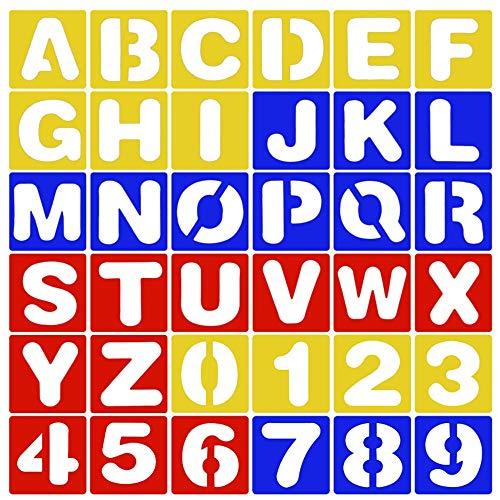 Anyasen 36 piezas Plantilla Letras y Números Carta Número Plantilla Plástico Plantilla de Alfabeto para Pintura Bricolaje