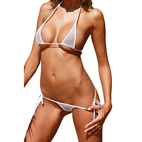 Luckilia Women's Sheer Extreme Bikini Halterneck Top and Tie Sides Micro Thong Sets (White),One Size
