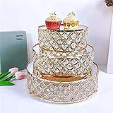 Alzata per Torta Golden Metal Cake Stand Round Wedding Birthday Party Dessert Cake Stand Base Display Piastra Decorazione della casa 3pcs Cake Stand per Tea Party ( Colore : Gold , Size : Small )