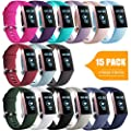 GEAK for Fitbit Charge 4/Fitbit Charge 3/Charge 3 SE Band Women Men, Sports Waterproof Bands Compatible with Fitbit Charge 3 Fitness Activity Tracker,Large 15 Colors