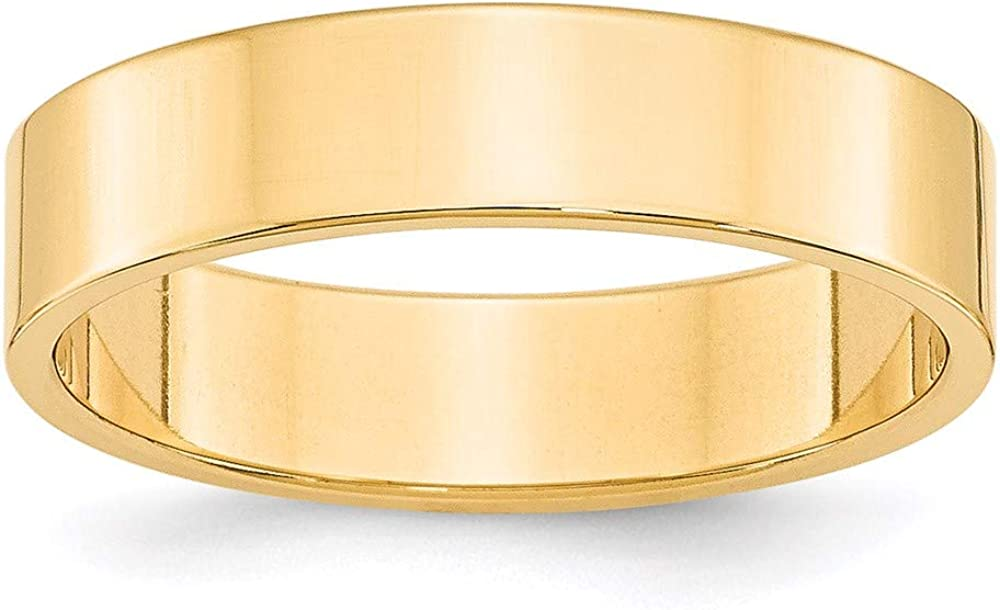 14k Yellow Gold 5mm Flat Wedding Ring Band Size 9.5 Man Classic Fine Jewelry For Dad Mens Gifts For Him