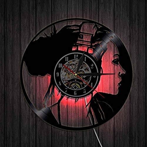 wtnhz LED-Music girl headphones listening music wall clock disco girl retro wall art vinyl record clock wall clock music lovers gifts