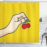 ABAKUHAUS Obst Duschvorhang, Retro Pop-Art-Kirschen, mit 12 Ringe Set Wasserdicht Stielvoll Modern Farbfest & Schimmel Resistent, 175x220 cm, Mehrfarbig