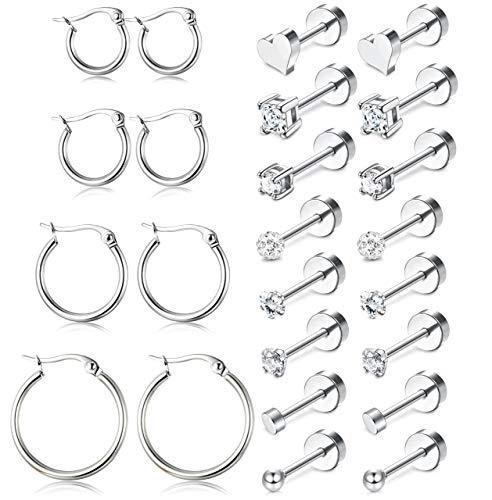 ORAZIO 12 Pairs Tiny Cartilage Stud Earrings Set for Men Women Heart Ball Clay CZ Flat Cack Screwback Helix Earrings Stainless Steel Hoop Huggie Ear Piercing Earrings Set 3MM …