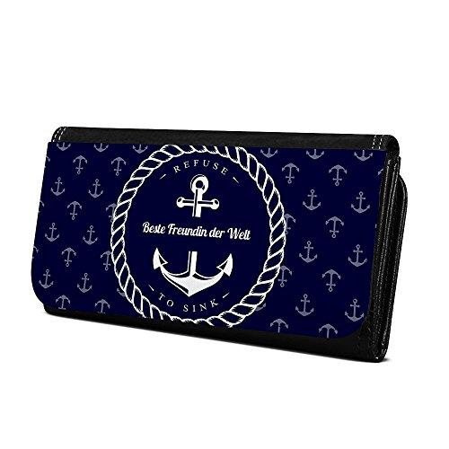 Geldbörse mit Namen Beste Freundin der Welt - Design Anker - Brieftasche, Geldbeutel, Portemonnaie, personalisiert für Damen und Herren