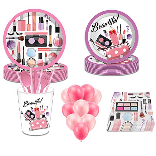 Spa Makeup Birthday Party Supplies, YimaiX 113PCS Spa Makeup Disposable Tableware with Spa Makeup Plates Cups Napkins Balloons More for Girls Spa Birthday Party (Spa Makeup Disposable Tableware)