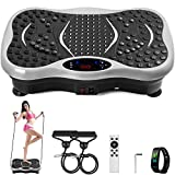 POPSPORT Sliver Vibration Plate Platform Full Body Exercise 350Lbs LCD 3 Levels Massage Remote Bluetooth USB Music Intelligent Watch Fitness Machine
