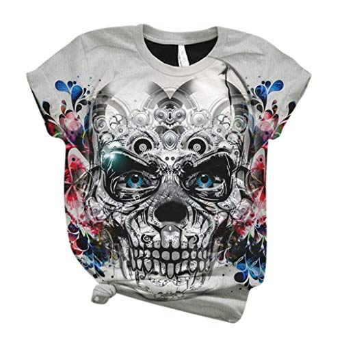 aihihe Women Teen Girl Juniors Sugar Skull Graphic T Shirt Tees Summer Casual Short Sleeve T-Shirts Tops Blouse Gray