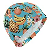 Gebrb Cuffie da Nuoto,Cuffie da Bagno,Cuffia Piscina Swim cap Tropical Colorful Fruit Pineapple Pattern Swimming cap for Men Boys Adult Teen Swimming Hat No-Slip
