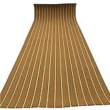 RainWeel Suelo antideslizante de espuma EVA alfombrilla de teca alfombra autoadhesiva para barco, yate, 6 mm, marrón con líneas blancas