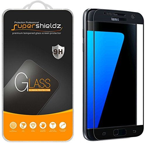 (2 Pack) Supershieldz Designed for Samsung Galaxy S7 Tempered Glass Screen Protector, (Full Screen Coverage) Anti Scratch, Bubble Free (Black)