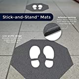 M+A Matting Stick-and-Stand Social Distancing Floor Mat Signs | Stop Sign Shape Footprint Mat, Adhesive Backing, Slip-Resistant Surface | Leaves No Sticky Residue | 17' x 17' | 6 Mats per Box