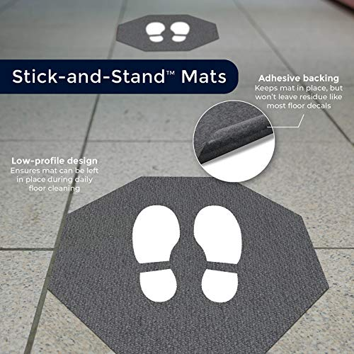 M+A Matting Stick-and-Stand Social Distancing Floor Mat Signs | Stop Sign Shape Footprint Mat, Adhesive Backing, Slip-Resistant Surface | Leaves No Sticky Residue | 17