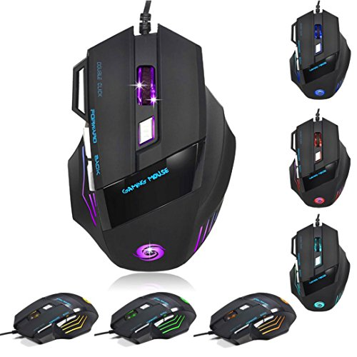 switchali Professional 6Botón 5500DPI 7d LED óptico USB con cable Gaming PRO ratón para PC portátil negro negro A868