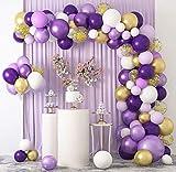 129 Piezas Kit de Arco de Globo de Látex Globos Morados Púrpura Blancos Dorado Globos Confeti Morados Metalizado para Decoración de Boda Cumpleaños de la Graduación Fiesta