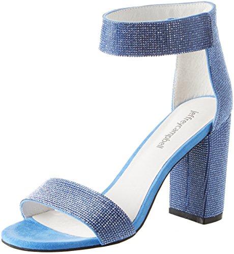 Jeffrey Campbell 1-Lindsay JS, Escarpins Bout Ouvert Femme, Bleu Fabric Blue 001, 40 EU