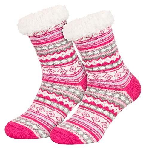Piarini 1 Paar Kuschelsocken mit ABS Sohle - warme Damen Socken Hüttensocken - Wintersocken mit Anti Rutsch Noppen - Ethno- Pink (One-Size)