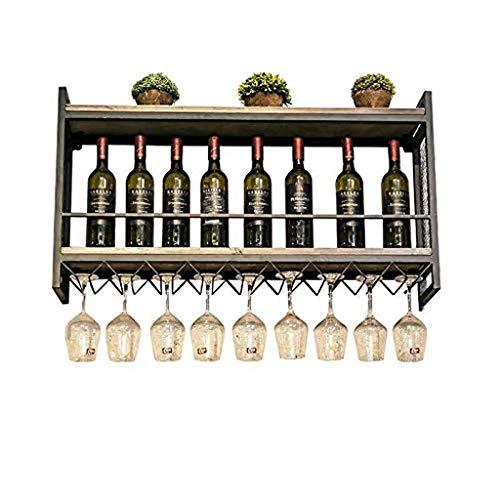POETRY Estante para Vino Estante para Vino de Hierro nórdico montado en la Pared Estante para Colgar en la Pared de Madera Maciza Estante para exhibición de Copa de Vino Estante para Copa con almac