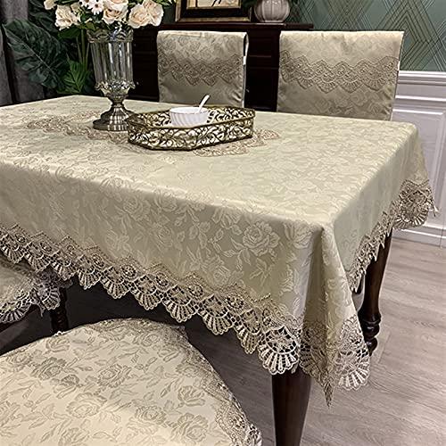 XQLSRJ Elegant und luxuriös Qualität rechteckig Dinning Tischdecke Luxus Stickerei Spitze Runde Tischabdeckung Blume Elegante Aushöhlen Tisch Tuch Tischflagge Handtücher