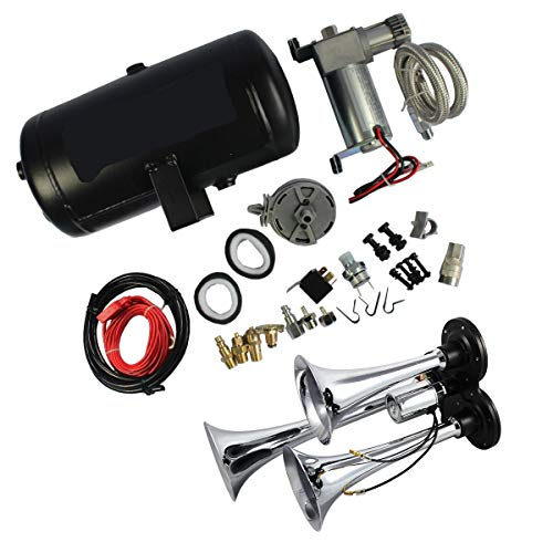 Compatible with Loud Triple Trumpet Air Horn Kit with 98c 1 Gallon Best Buy Fit for Car Truck RV