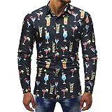 Camicia Floreale Hawaiana Uomo Maniche Lunghe LandFox Slim Fit Camicie Casual da Uomo Mani...