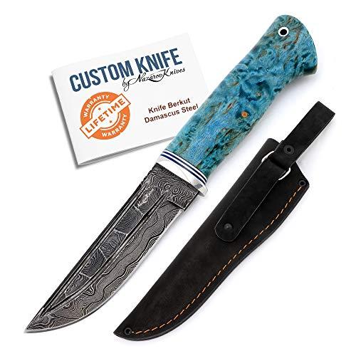 Nazarov Knives Berkut Jagdmesser handgemacht - hochwertiges Damastmesser mit Holzgriff & Lederscheide, extra scharfer Damaststahl, ideal als Survival Messer oder Campingmesser