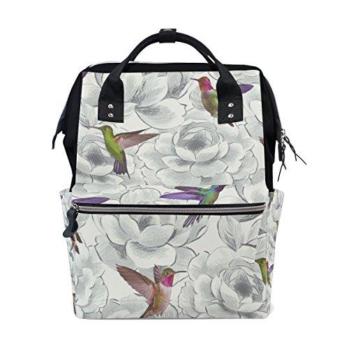 tizorax Aruba Floral Kolibris Windel Rucksack Große Kapazität Baby-Bag Multifunktions-Wickeltaschen Mom Rucksack Reisen für Baby Care