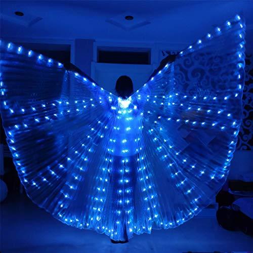 XIALEY Alas De Danza del Vientre LED para Mujer Alas De Mariposa Azul Halloween Festival De Navidad Disfraz Alas De ngel ISIS con Bolsa De Almacenamiento Porttil Palos Telescpicos