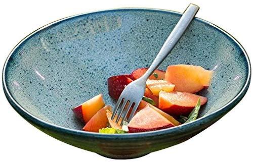 Miwaimao Bowl en céramique Bowl Point européen Retro au Fond du Godet Bowl (Style Naturel) Stoneware Kiln Baie vitrée Bowl Bowl Bowl Saladier Art de la Table Vaisselle