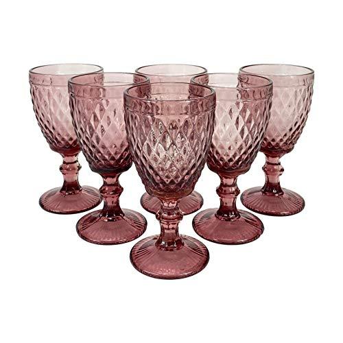 Homevibes Juego Set de 6 Copas De Vino, Copas de Vino con Relieve, Diseño Retro, Cristaleria De Calidad, Capacidad 330ml, Muy Resistentes (Purpura)