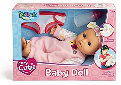 Kidoozie Snug and Hug Baby Doll ? Includes Removable Diaper and a Bottle ? Ages 12 Months and Up